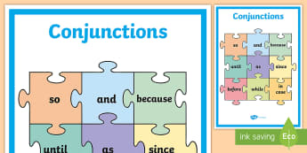 Conjunctions Display Posters - conjunctions, language, word cards, display, connectives,Irish
