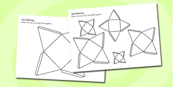 Pyramid Size Ordering Nets - 3d, shape, cube, shape net, size, pyramid, square-base, order