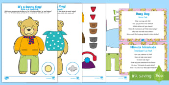 Dress Ted Busy Bag Prompt Card and Resource Pack English/Romanian - EAL, clothes, EYFS, toddler play, toddler activity, quiet time activity, outfits, trousers, jumper,