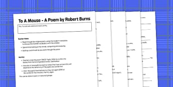 Robert Burns To A Mouse Activity - robert burns, to a mouse, activity, poetry