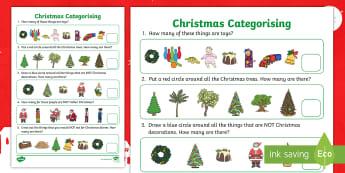 Christmas Categorising Activity Sheet - categorising, christmas, sorting, odd one out, matching, worksheet