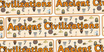 Ancient Civilizations Display Banner - ancient civilization, display banner, banner, display header, themed banner, themed header, header, banner display