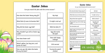 Easter Jokes Matching Activity - easter, bunny, easter rabbit, easter egg, chocolate