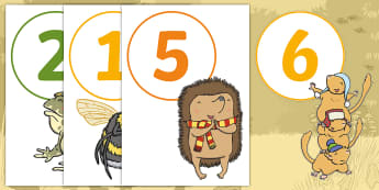 Don't Hog the Hedge! Display Number Cut-Outs - Twinkl Originals, Fiction, Autumn, Hibernate, Woodland, Animals, Maths Display, KS1, EYFS, counting,