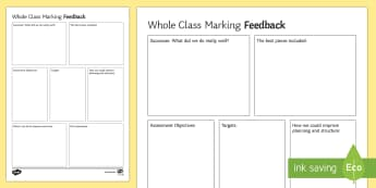 Whole Class Feedback Sheet Editable Proforma - secondary, whole school literacy, feedback, marking, essay, evaluation, self-assessment, peer assess