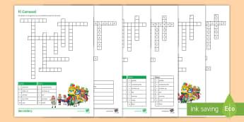 Carnival Vocabulary Differentiated Crossword Spanish - Celebrations, festivals, Fancy, Dress, festivities, Reading, Comprehension