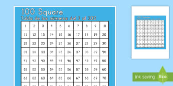 100 Square US English/Spanish (Latin) - Number square, hundred square, Counting, Numbers 0-100, 100s gird, 100s chart, 100s board, numeracy,