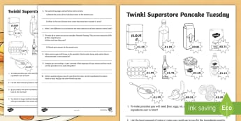 Money Pancake Tuesday Worksheet / Activity Sheet - currency, euros, measures, money, shopping, mental maths, calculations, number operations, brochure,