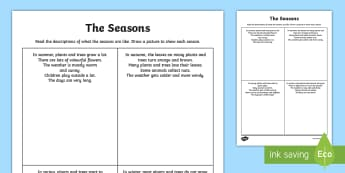 The Seasons Comprehension Worksheet / Activity Sheet - seasons, reading, comprehension, drawing, worksheet / activity sheet, worksheet,Irish