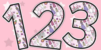 Princess Themed Display Numbers - display, numbers, princess