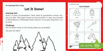 Let It Snow Activity Sheet - Amazing Fact Of The Day, activity sheets, PowerPoint, starter, morning activity, December, Christmas