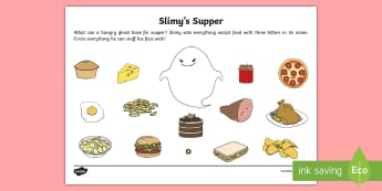 Greedy Ghost's Supper Activity Sheet - Home Education Requests, slimer, ghostbusters, word length, key stage one problem solving, ghosts