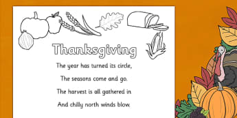 Thanksgiving Poem Colouring Sheet -  thanksgiving tree display banner, thanksgiving, pumpkin, poem, poems, colouring, fine motor skills, poster, worksheet, vines, A4, display, United States, November, turkey, stuffing, family, celebration
