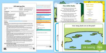 EYFS Five Little Ducks Counting Fun Adult Input Plan and Resource Pack - Mathematics, number, counting, numerals, number names