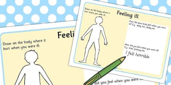 Feeling Ill Worksheet - worksheets, feelings, illness, sickness