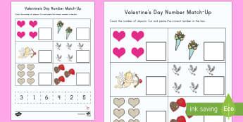 Valentine's Day Number Match-Up Worksheet / Activity Sheet - Valentine's Day USA, Number Match-Up, Math, Cut and Paste, EYFS, KS1, PreK, Kindergarten, One-to-on