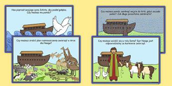 Karty z wyzwaniami Arka Noego po polsku - zwierzęta, Biblia