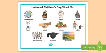 KS2 Universal Children's Day Word Mat - events, united nations, children's rights, independent writing, writing aids