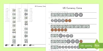 US Currency Bills and Coins Activity Sheets - Coins, Bills, Money, US Currency, dime, penny, quarter, nickel, Worksheets