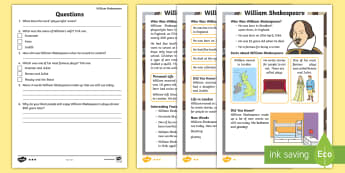 KS1 William Shakespeare Differentiated Reading Comprehension Activity - KS1, year 1, year 2, yr 1, yr 2, reading comprehension, differentiated reading comprehension, readin