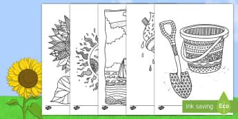Hojas de colorear: Verano - Mindfulness - verano, colorear, colorea, colores, pintar, mindfulness, mindfullness, helado, sol, playa, ,Spanish