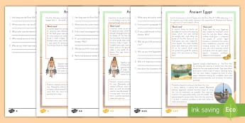 Survival in Ancient Egypt Differentiated Reading Comprehension Activity - ancient, Egypt, reading, comprehension, differentiated, reading response, non-fiction, inference