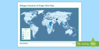 Refugee Countries of Origin Map Fact Sheet  - migration, war, movement, displacement, immigration, terrorism, natural disasters