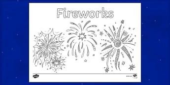 Coloriage : Fireworks - Anglais, Langue Vivante, Histoire, Culture, Guy Fawkes, 5 Novembre, Bonfire, Cycle 2, Cycle 3
