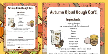 Autumn Cloud Dough Cafe Recipe - instructions, KS1, early years, food