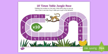 10 Times Table Jungle Race Activity Sheet - Requests KS1, multiplication, 10 x tables, times tables, repeated addition, lots of, maths game, rac
