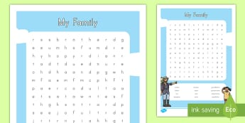 My Family Word Search - vocabulary, key words, family, all about me, home, mother, father, sister, brother