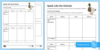 Development of English: Animal Communications Go Respond Worksheet / Activity Sheet - development of english, animal communication, origins of languages, communication systems, spoken la
