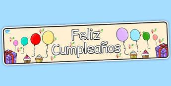 Spanish Happy Birthday Display Banner - spanish, display, banner