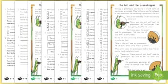 The Ant and the Grasshopper Reading Comprehension Differentiated Activity Sheets - fables, Aesop's fables, reading comprehension, activity sheets, worksheets
