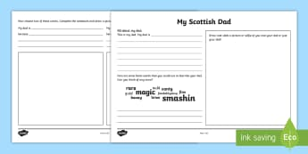 Father's Day - My Scottish Dad Activity Sheet - CfE, calendar events, Scotland, Scottish, traditions, Dad, Daddy, Scots language, worksheet, celebra