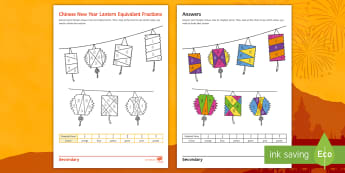 Chinese New Year Lantern Equivalent Fractions Colouring Worksheet / Activity Sheet - Maths, Fractions, Chinese, New year, equivalent, colouring,revision, numeracy, worksheet