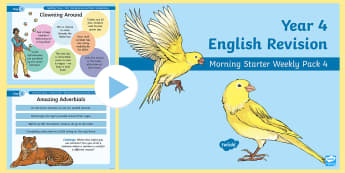 Year 4 English Revision Morning Starter Weekly PowerPoint Pack 4 - Spag, Reading, Writing, Sentences, Filler, Y4, morning task