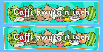 Caffi bwyta'n iach Role Play Banner Welsh - cymraeg, Healthy Eating Cafe Role Play Banner - healthy eating cafe