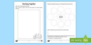 Working Together Activity Sheet - collaboration, friendship, young people, feelings, emotions, families, worksheet