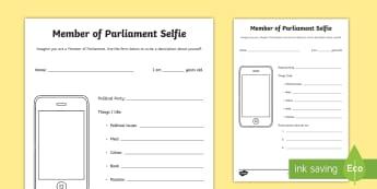 MP Selfie Activity Sheet - general election, party, parliament, issues, conservative, politics, labour, political