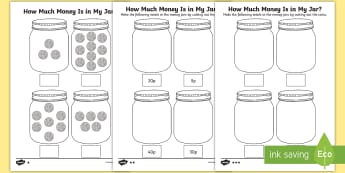 KS1 How Much Money Is in My Jar? Counting in 5s Differentiated Activity Sheets - 5s, Y1 Money, Y2 Money, Y2 Number Sequence, Number Sequence, Worksheets, Measurement, How Much Money