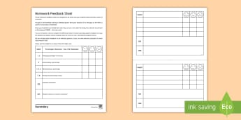 Homework Feedback Editable Proforma - AfL, Feedback, Homework, WWW, EBI, Dialogue
