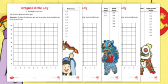 Dragons in the City Grid References Activity Sheets - chinese new year, coordinates, co-ordinates, map points, ordinance, graphs, chinese new year, dragon