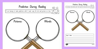Prediction During Reading Worksheet / Activity Sheet, worksheet
