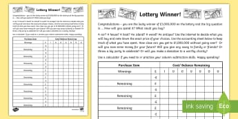Lottery Winner Accounting Template Worksheet - accounting, lottery, winner