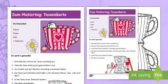 Zum Muttertag: Tassenkarte Anleitung für Lehrkräfte - DE Muttertag (Mother\'s Day) 14th May, Geschenk, basteln, Kl. 1/2, present, craft, EYFS/KS1,German