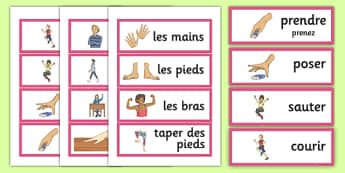 French Actions Word Cards - french, cards, actions, word cards