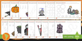 Halloween Pencil Control Worksheet / Activity Sheets - US English/Spanish (Latin) - Halloween, pencil control, worksheet / activity sheet, motor skill, spanish, esl, eal, español