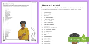 Name The Artist Spanish Activity Sheet - dictionary, skills, translation, music, bands, worksheet