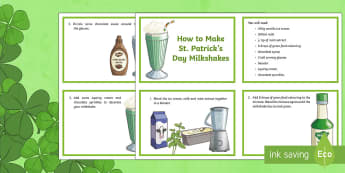 How to Make a St. Patrick's Day Milkshake Flashcards - ROI - St. Patrick's Day Resources, procedural genre, writing, reading, make a milkshake, Ireland, P